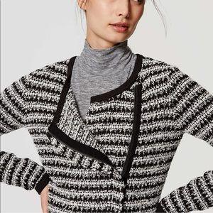 LOFT Black + White Tweed Crop Zip Blazer